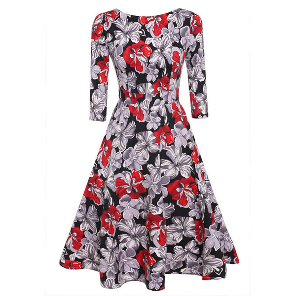 Autumn Winter 3/4 Sleeve Elegant Vintage Rockabilly Floral Swing Party Dresses 1950s Style