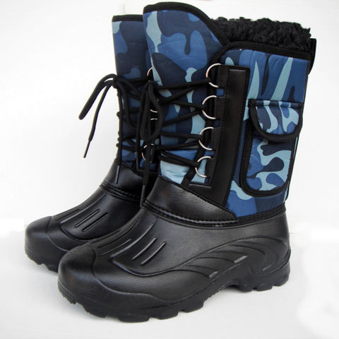 Autumn Winter Warm Men Snow Military Fishing Skiing Waterproof Simple Casual Mid-calf Boots