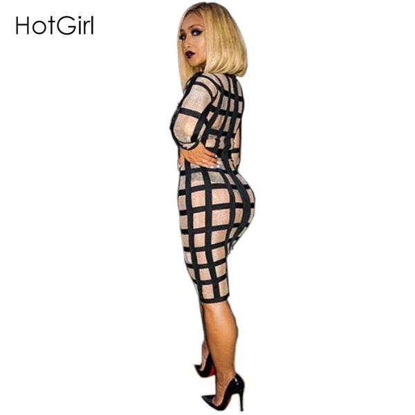 Plus Size Summer Sexy Printed Party Mesh Sheer Zip Black White Knee Length Bodycon Bandage Dresses