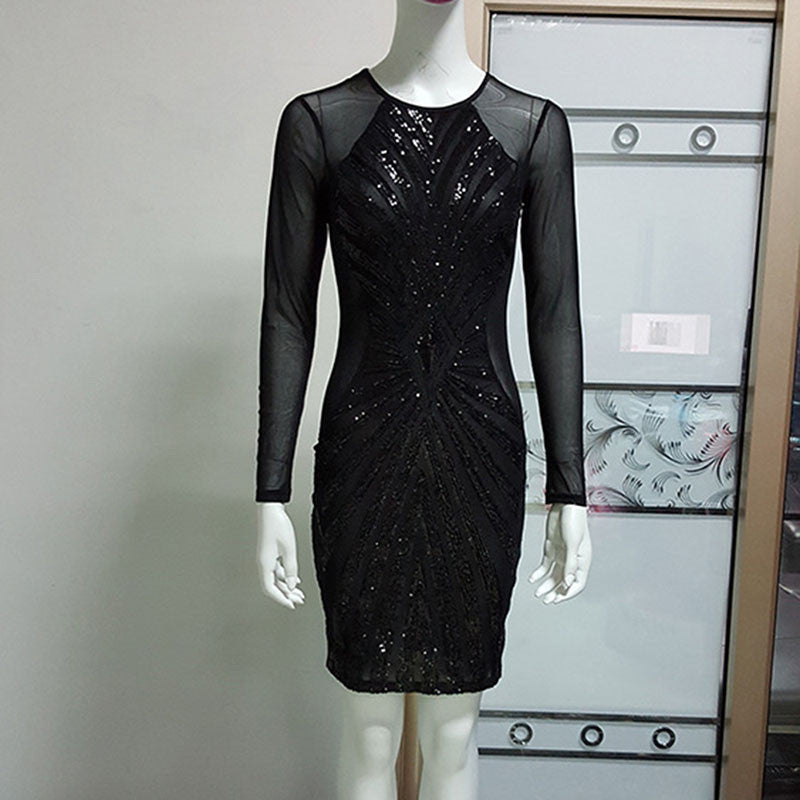 Women Sexy Club Sequin Dress Winter Long Sleeve Celebrity Bodycon Bandage Party Dresses