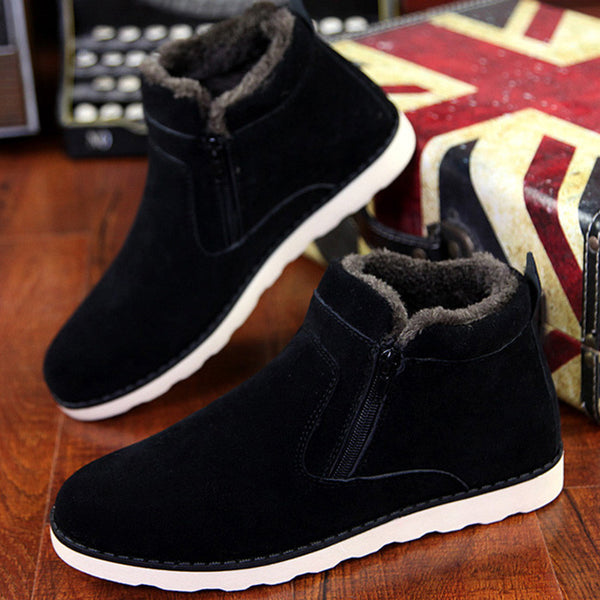 Size 37-45 Autumn Winter Men Warm Snow Ankle Boots Casual With Short Plush Height Increasing Rubber