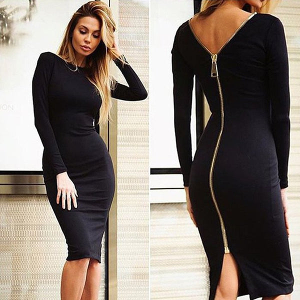 Bodycon Sexy Club Midi Winter Autumn Sheath O-neck Party Tight Back Zipper Dresses Plus Size XXL
