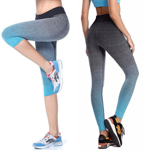 Women Yoga Sport Leggings Summer Capri Pants For Running Fitness Gym Elastic Capris Athletic