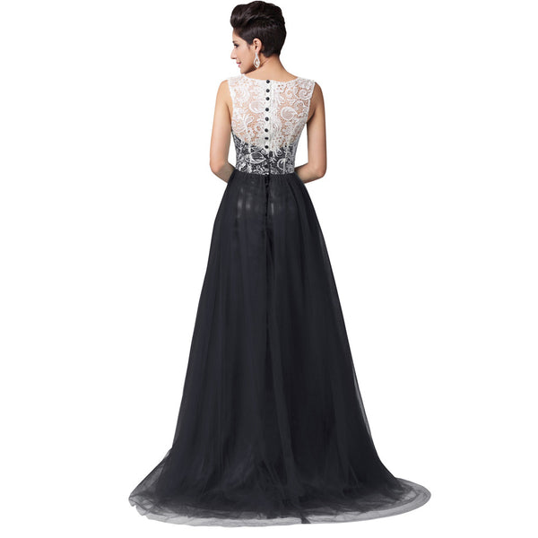 Sexy Women Winter Ball Long Lace Evening Party Prom Gown Floor Length Blue Formal Evening Dress