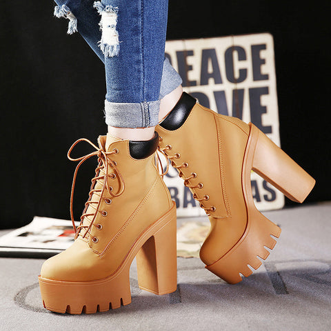 Autumn Winter Ankle Boots Women Lace Up Thick Heel Boots Ladies Worker Boots Black Size 35-39