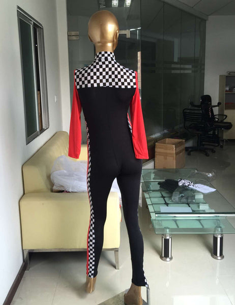 Sexy Women Halloween DJ Model Uniform Black Race Car Driver Costumes With Long Sleeves