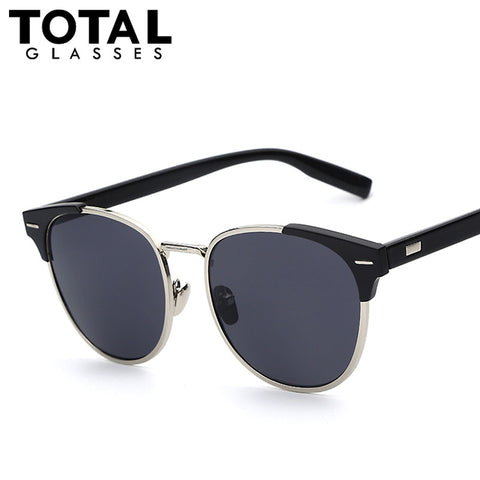 Metal Wrap Oval Men Women Fashion Sunglasses Gold Rose Mirror Retro Vintage Sunglasses