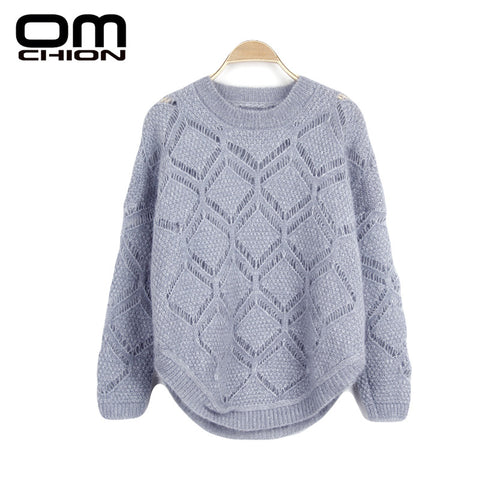 Korean Autumn Women Sweater Candy Color Geometric Openwork Crochet Loose Knit Pullovers