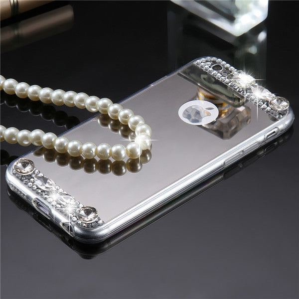 Bling Diamond Case For Apple iPhone 7 7 Plus Acrylic Mirror Crystal Back Cover Rhinestone Thin Case