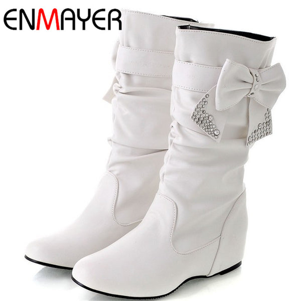 Big Size 34-44 Hot Flat Snow and Slip-On Round Toe Women Winter Boots