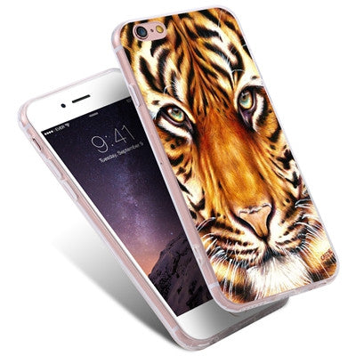 Cartoon Colorful Lion Tiger Art Print Case For iPhone 7 7 Plus