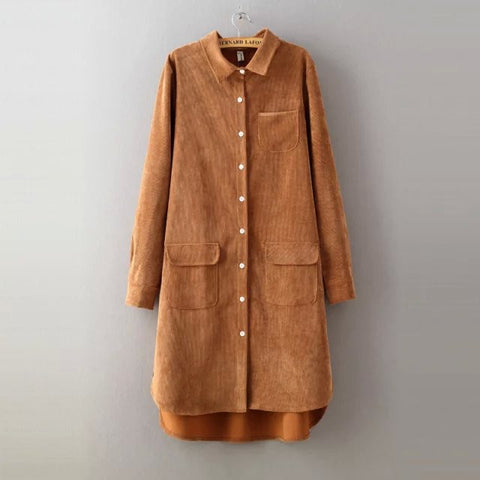 Spring Autumn Women Long Blouse Solid Loose Corduroy Long Sleeve All Match Shirt Dress