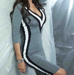 Winter V-neck Sexy Party Dresses Three Quarter Sleeve 3 Color Striped Stitching Tight Sheath