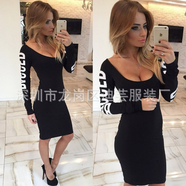 Winter Bandage Square Collar Sexy Party Full Sleeve Letters Print Bodycon Plus Size Hollow Dresses