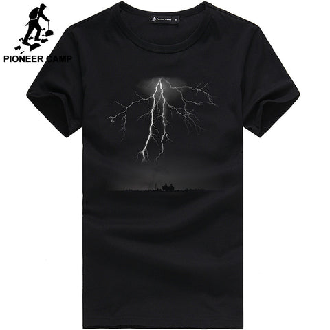 Lightning Printed T-Shirt Men Black Casual Clothing Cotton 3D