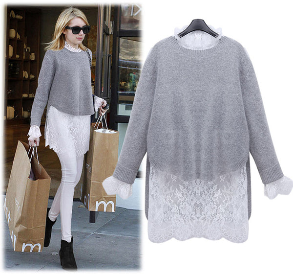 Women Winter Autumn Sweater Long Sleeve Party Knitting Dress Lace Knitted 2 Pieces Set S M L