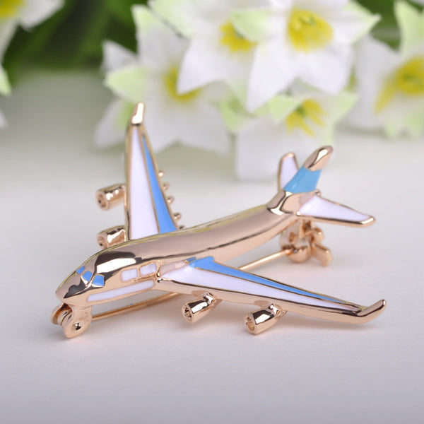Cute Little Airplane Brooch 18K Gold Plated Metal Brooches Enamel Pin Model Fighter Aircraft