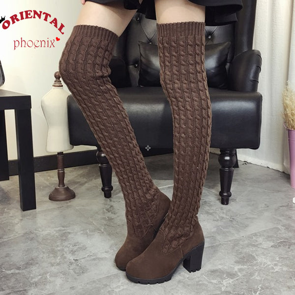 Women Autumn Winter Flat Bottom Boots Shoes Over The Knee Thigh High Knitting Wool Long Boots