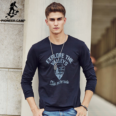 Men's Long Sleeve T-Shirt Cotton Elastic Casual O-neck