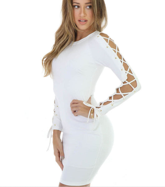 Sexy Autumn Winter O-neck Long Sleeve Bandage Casual Bodycon Pencil Party Dresses