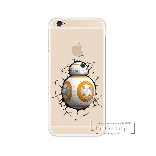 Soft TPU Slim Cover For iPhone 7 7 Plus Star Wars The Force Awakens Bb-8 Droid Robot 3D Case