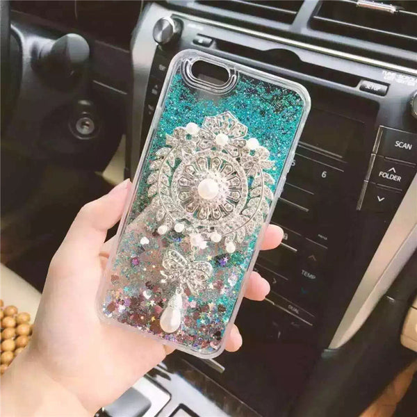 Luxury Diamond Brooch Pearl Pendant Liquid Glitter Sand Case Cover For iPhone 7 7 Plus