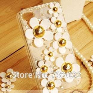 3D Bling Pearl Rhinestone Daisy Phone Case for iPhone 7 7 Plus Cover