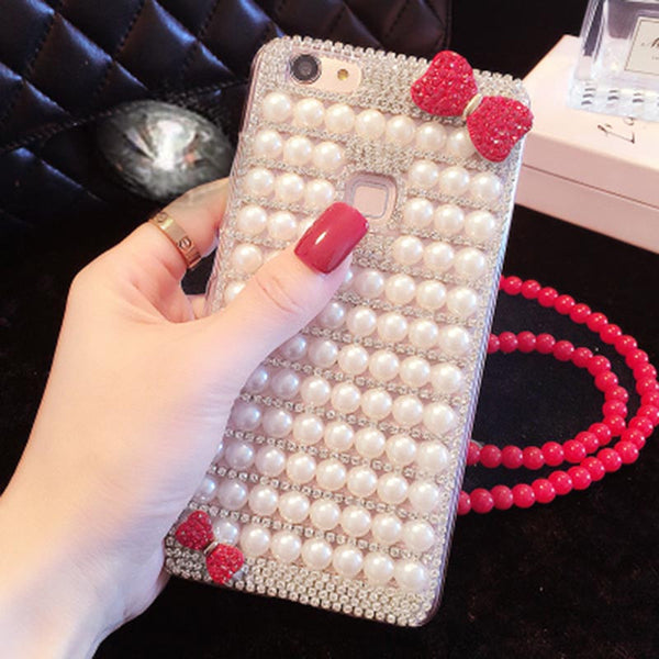 Pearl Bowknot Bling Diamond Case For iPhone 7 7 Plus Rhinestone