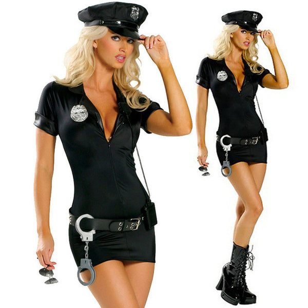 Police Cop Uniform Policewomen Cosplay Halloween Costumes For Women Plus Size S -2XL