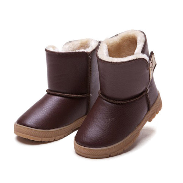 15-20cm Winter Waterproof Rubber Boys Girls Thickening Cotton Kids Leather Warm Thermal Snow Boots