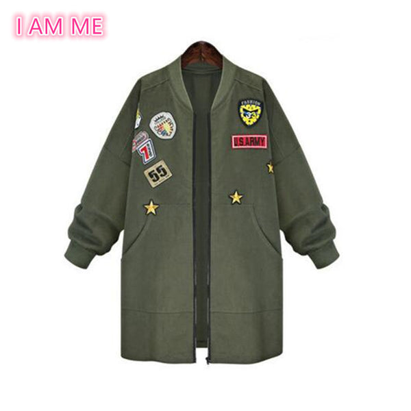 Plus Size 5XL Army Green Bomber Jacket Patched Badges Long Baseball Uniform Street Windbreaker Coat