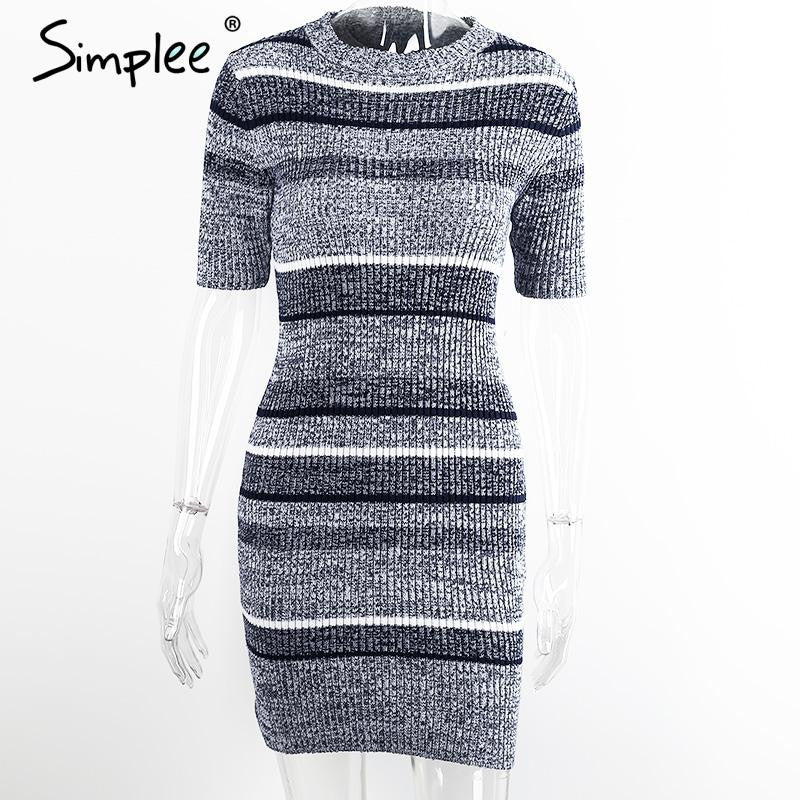 Blue Striped Knitted Bodycon Autumn Winter Short Sleeve Girls Elegant Evening Party Sexy Dresses
