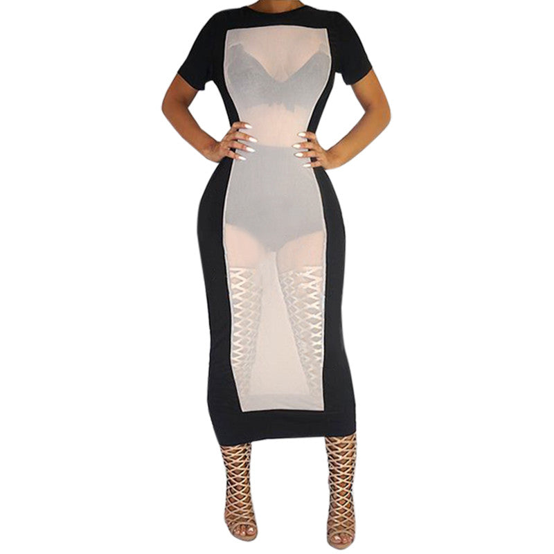Khaki Black Mesh Short Sleeve Sexy Bodycon Women Winter Evening Party Plus Dress Patchwork Dress