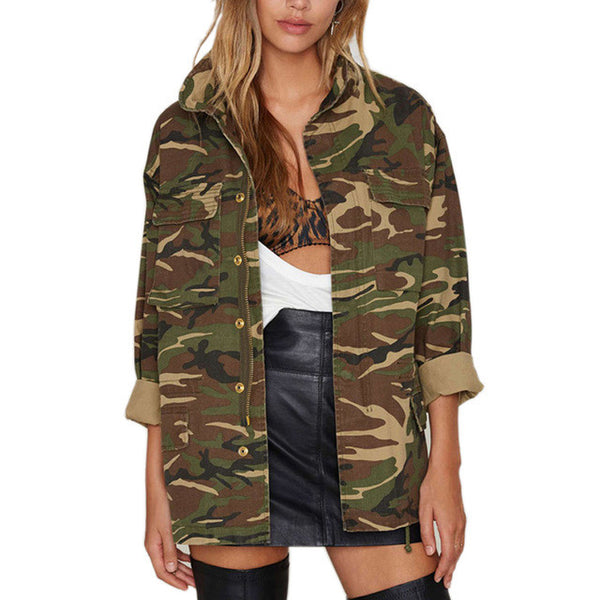 Military Women Jacket Spring Zipper Button Outwear Female Vintage Camouflage Army Green Jackets