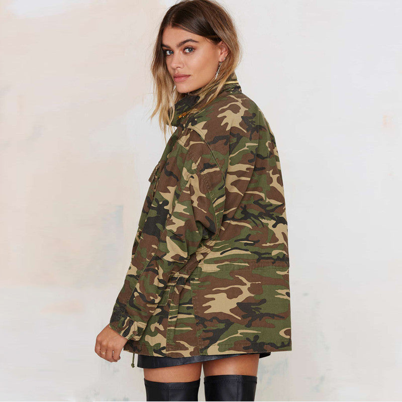 f2c0d20005847 ... Military Women Jacket Spring Zipper Button Outwear Female Vintage  Camouflage Army Green Jackets ...