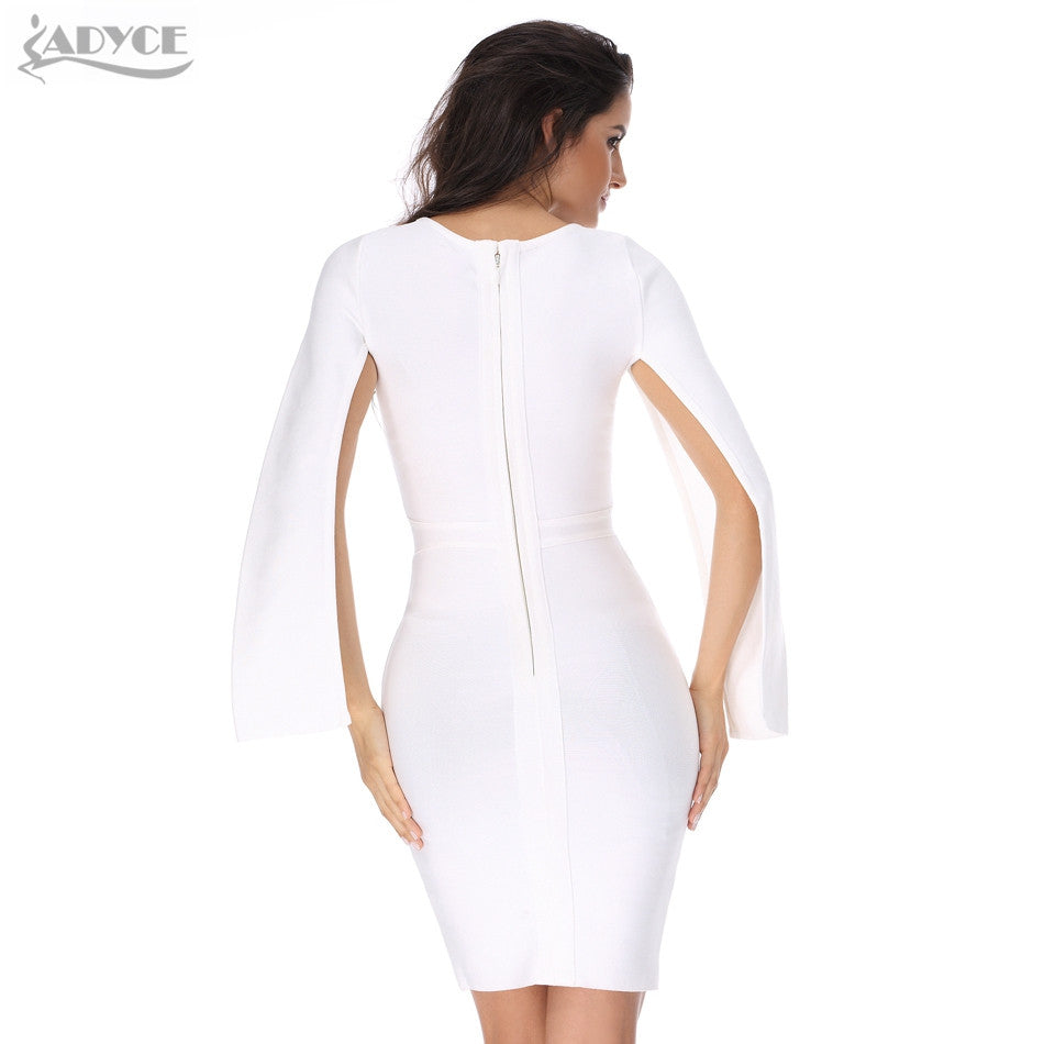 79f2e1a4a08e3 ... Sexy Winter Party White Bodycon Dress Black O-neck Batwing Sleeve  Luxury Celebrity Runway Dresses ...