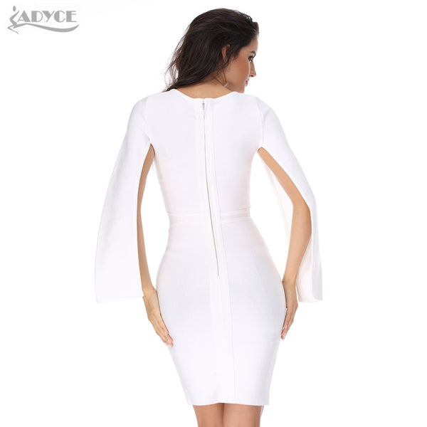 Sexy Winter Party White Bodycon Dress Black O-neck Batwing Sleeve Luxury Celebrity Runway Dresses