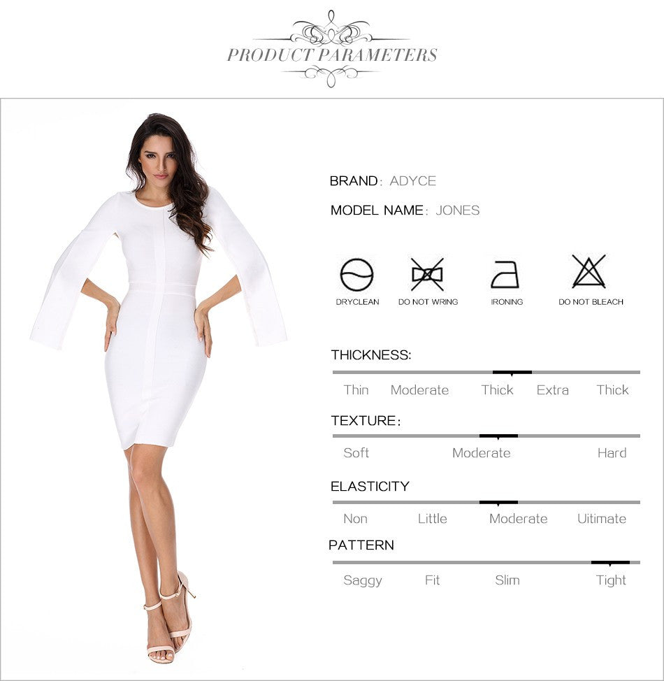 c077eb1421859 ... Sexy Winter Party White Bodycon Dress Black O-neck Batwing Sleeve  Luxury Celebrity Runway Dresses