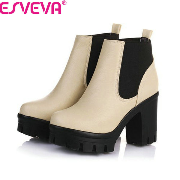 Thick High Heels Women Slip On Hot Sale Motorcycle Mixed Color Winter Snow Boots Black