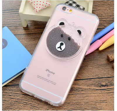 Cute Cartoon Bear Rabbit Funny Liquid PC Back Cover Case for iPhone 7 7 Plus