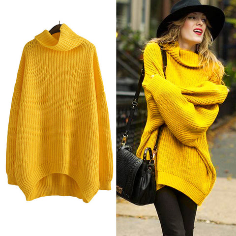 Autumn Winter Turtleneck Hoodies Sweatshirt Women Knitted Oversized Long Sleeves