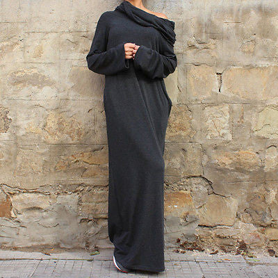 Sexy Women Off Shoulder Hooded Shirt Maxi Long Party Casual Autumn Winter Fashion Dresses