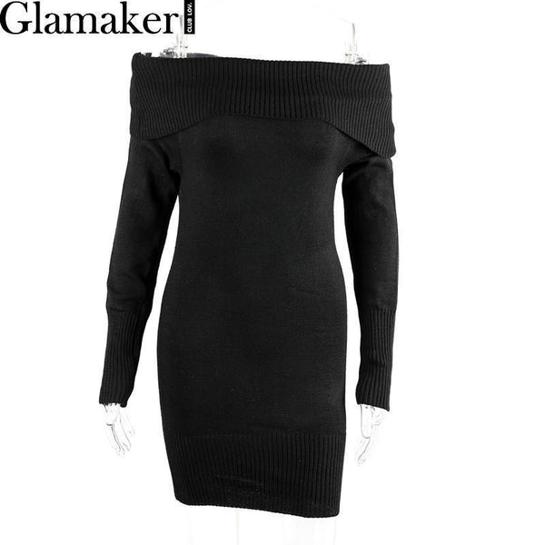 Autumn Off Shoulder Long Sleeve Bodycon Sexy Sweater Party White Winter Knitted Dresses