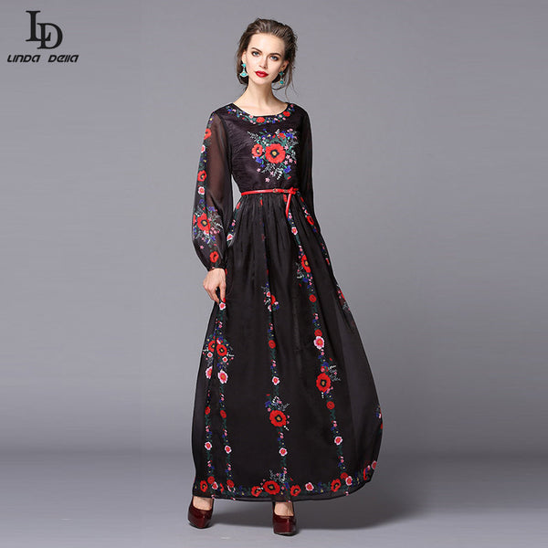 Black Party Dresses Floor Length Puff Sleeve Floral Print Vintage Long Dress + Sashes