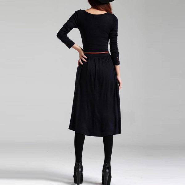 Spring Winter Dress Vintage Knitted Basic One-Piece Long Sashes Empire Plus Size Party Dresses