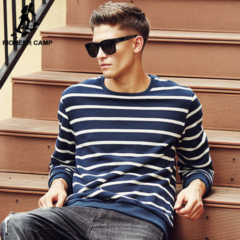 Autumn Winter Classic Striped Hoodies Men O-Neck Soft Sweatshirts