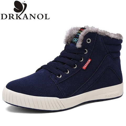 Big Size 39-45 Fashion Flat Winter Snow Thick Plush Ankle Boots For Men Warm Casual