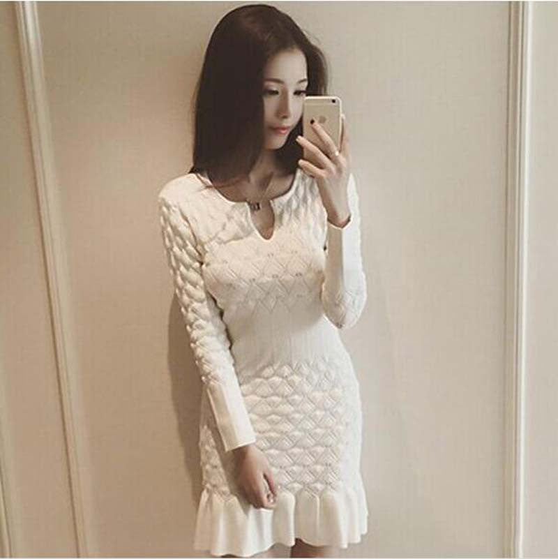 Winter Sexy Long Sleeve Thicken Party Slim Fit Package Hip Hedging Knitted Sweaters Dresses
