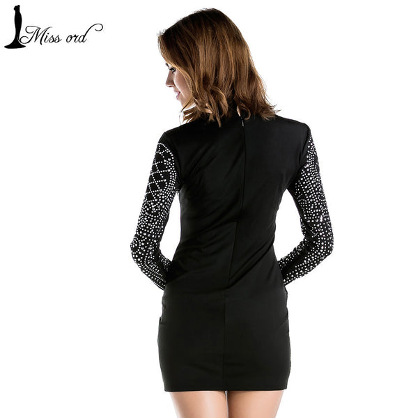 Sexy Geometric Retro Rhinestone High-necked Long-sleeved Bodycon Tight Party Dresses