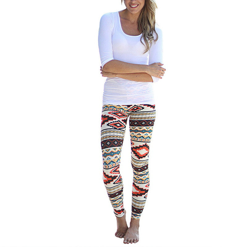 Spring Summer Diamond Leaves Geometry Wave Camo Print Reindeer Fully Lined Leggings Plus Size S-XL